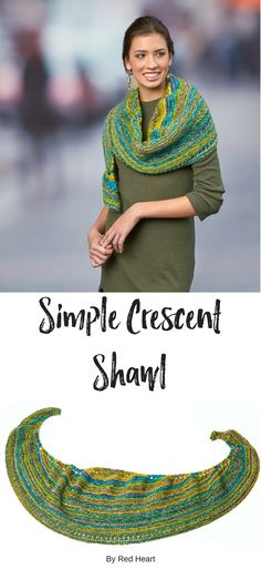 Simple Crescent Shawl knit with Hopscotch. Elegant yet easy to wear, this shawl will dress up jeans and elevate a dress for your night out.