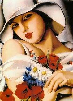 In the Middle of Summer - Art Deco era painting by Polish born artist Tamara de Lempicka (1898 -1980)