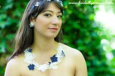 Bouquet Hairpiece; Lacey Petals Studs; Bouquet Necklace  www.bridalbyseonaid.com