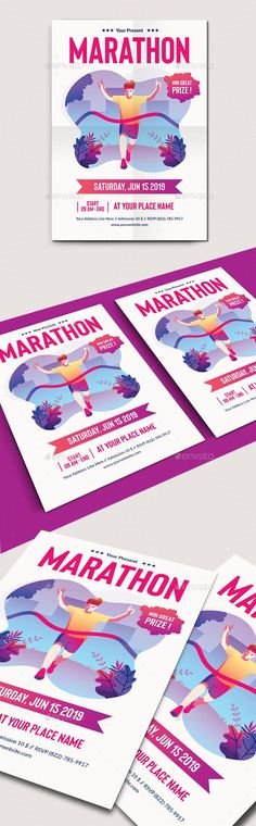 Buy Marathon Run Flyer Template by SBS_Template on GraphicRiver. Flyer template design for marathon run event Features : 1 PSD file (min version Size with Marathon Posters, Sports Flyer, Marathon Running, Flyer Template, Print Design, Templates, Illustration, Binder, Projects