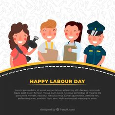 Set of happy people with different jobs. Download thousands of free vectors on Freepik, the finder with more than 3 millions free graphic resources Labour Day, Happy Labor Day, Happy People, Lorem Ipsum, Flyer Design, Creative Design, Vector Free, How To Draw Hands, Banner