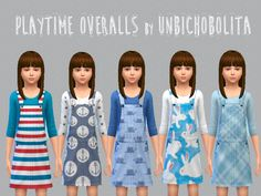 5 stand alone sets of girl's overalls at Un bichobolita via Sims 4 Updates Sims 4 Blog, Sims 4 Game, Sims 4 Update, Sims 4 Clothing, My Sims, Standing Alone, Ts4 Cc, Sims 4 Mods, Sims 4 Custom Content