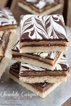 Chocolate caramel shortbread cookie bars recipe