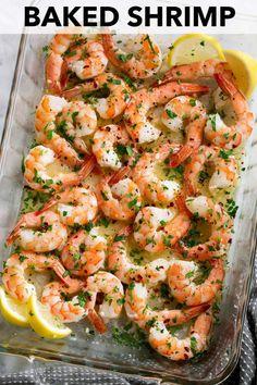 Baked Shrimp (with Garlic Lemon Butter Sauce) - Cooking Clas.-Baked Shrimp (with Garlic Lemon Butter Sauce) – Cooking Classy Baked Shrimp with Garlic Lemon Butter Sauce - Baked Shrimp Recipes, Shrimp Recipes For Dinner, Seafood Dinner, Fish Recipes, Seafood Recipes, Cooking Recipes, Healthy Recipes, Simple Shrimp Recipes, Keto Shrimp Recipes