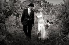Wedding photos in the vineyard at St Leonards Vineyard