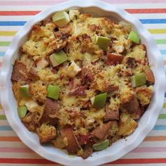 Pear Ham and Gruyere Strata: Here sweet juicy pears meet the savory bite of Gruyère cheese and delicious smoked ham for the perfect breakfast/brunch entree.