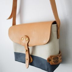 The Superior Labor Paint Small Shoulder Bag / natural canvas with blue grey paint