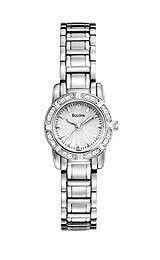 Ladies' Bulova Diamond Accent Watch with Silver-Tone Dial (Model: Stainless Steel Bracelet, Stainless Steel Case, Bulova Watches, Silver Diamonds, Watch Brands, Quartz Watch, Fashion Bracelets, Jewelry Stores, Jewelry Watches