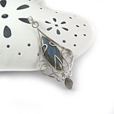 Fine long sterling silver pendant necklace with by byPiLLowDesign, $88.00
