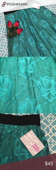 Lularoe Medium Lucy Skirt NWT Medium Lucy. Green underlay with Green lace with Black threading. LuLaRoe Skirts High Low