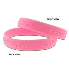 """Pink Hope Faith Courage Strength Breast Cancer Awareness Rubber Bracelet. Available as a single item or bulk packed. Select your quantity above. Buy more, save more!. 10 Pack of Bracelets. This wristband is made from 100% Pink Silicone Rubber and embossed with """"Hope Faith Courage Strength"""". Size: 8"""" around x 1/2"""" wide. One size fits most adults. Perfect for awareness campaigns and fundraising walks."""