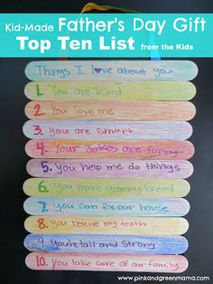Pink and Green Mama: Homemade Fathers Day Gift: Top 10 Things I Love About You Popsicle Stick Sign