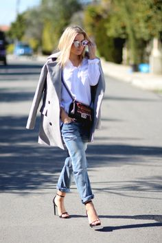 Coat/Surface To Air Shirt/Rag&Bone Denim/CurrentElliot Heels/Saint Laurent Bag/Chanel Sunnies/Dior Saint Laurent Bag, Nice Outfits, Sunnies, Duster Coat, Dior, Surface, Chanel, Street Style, Denim