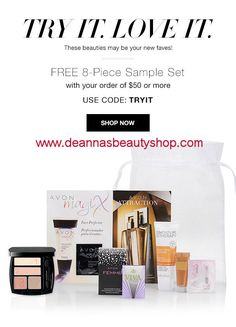 Use #couponcode TRYIT and get a #free 8-Piece sample set with your order of $50 or more at www.deannasbeautyshop.com. Expires midnight 8/11/16. While supplies last. #freesamples #avon #makeup