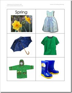 Seasons match clothing cards - great for pocket chart sorting!