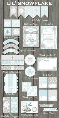 Snowflake Baby Shower Party Kit, Snowflake Baby Shower, Winter Baby Shower, Baby It's Cold Outside, Snowflake Baby Shower Invitation