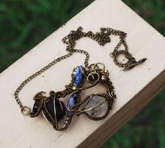 Wire Wrap Assemblage Stone Necklace Tibetan Quartz Crystal Garnet Amethyst Lapis #Jeanninehandmade #Pendant
