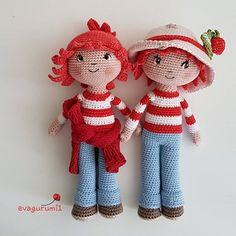 Eperke baba/ Strawberry doll - Evagurumi1 Amigurumi horgolt játék Boho Decor, Give It To Me, Strawberry, Teddy Bear, Invitations, Dolls, Christmas Ornaments, Knitting, Holiday Decor