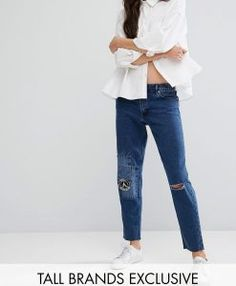 Waven Tall Distressed Aki Denim Boyfriend Jeans With Patchwork Detail Jeans For Tall Women, All Jeans, Love Jeans, Women's Jeans, Model Legs, Boyfriend Jeans, Supermodels, Denim, Clothes For Women