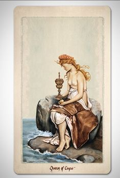 PAGAN OTHERWORLD Tarot deck of cards by UUSI.  Queen of Cups.
