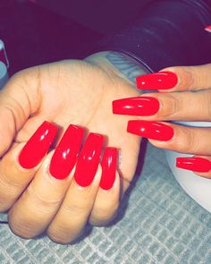 The Most Popular Nail Shapes – NaiLovely Red Acrylic Nails, Acrylic Nail Shapes, Acrylic Nail Designs, Sexy Nails, Cute Nails, Pretty Nails, Perfect Nails, Gorgeous Nails, Gel Nails Shape