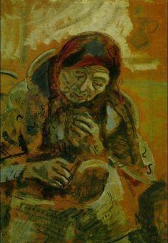 Old Woman with a Ball of Yarn, 1906, Marc Chagall  Medium: charcoal, gouache, oil on cardboard