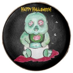 Zombie Baby Boy Chocolate Dipped Oreo