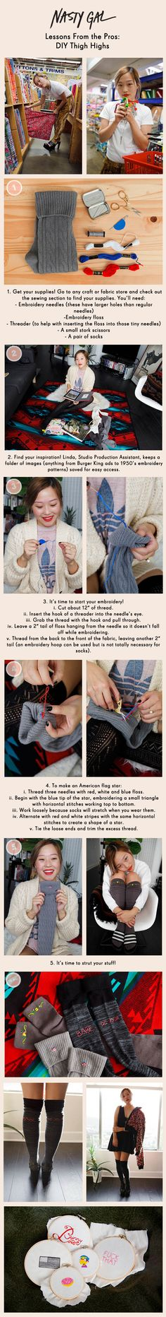 #DIY Embroidered Thigh Highs