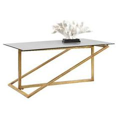 Features: -Material: Glass. -Zerrin collection. Top Finish: -Gold. Top Material: -Glass. Base Material: -Metal. Base Material Details: -Iron. Base Finish: -gold. Dimensions: Overall Height - T