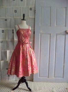 1950s Hot Pink Halter Top Cocktail Dress $158.00