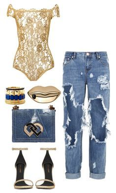 Original Pin: golden denim by minkstyles on Polyvore featuring polyvore, fashion, style, Yves Saint Laurent, One Teaspoon, Dsquared2, Charlotte Russe, STELLA McCARTNEY, women's clothing, women's fashion, women, female, woman, misses and juniors