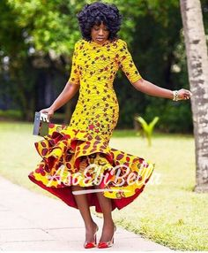 Get this look/ Yellow African Print Dress/African Clothing/African Dress For Women/African Fabric Dress/African Fashion/African Midi Dress/Ankara Dress. African Dresses For Women, African Print Dresses, African Attire, African Wear, African Fashion Dresses, African Women, African Prints, African Fabric, African Style