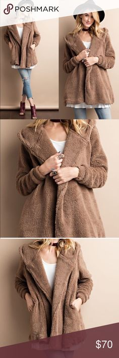 Soft faux fur jacket Warm and cozy soft faux fur jacket. Features side slip pockets and a hood. 100% polyester lining. 100% rayon. No closure. Color is a dark beige/ light brown color! Brand new without tags. Ⓜ️cheaper on mercari!Ⓜ️ Free People Jackets & Coats