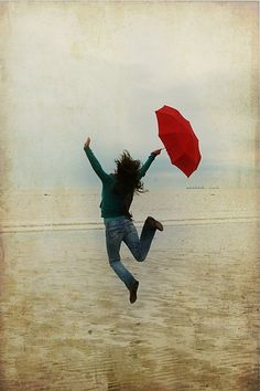 red umbrella Welcome the rain. Umbrella Art, Under My Umbrella, Walking In The Rain, Singing In The Rain, I Love Rain, Jumping For Joy, Learn To Dance, When It Rains, Beach Pictures