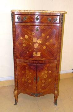 Secretaire in mogano e bois de rose in stile Luigi XV prima metà '900 intarsiato