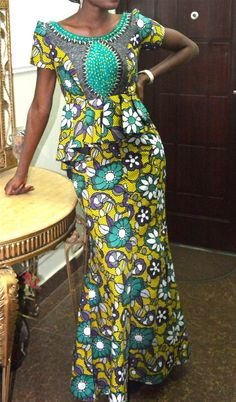 African print maxi dress african dress by CoCoCremeCouturier Ankara Styles For Women, African Dresses For Women, African Print Dresses, African Print Fashion, African Fashion Dresses, African Attire, African Wear, African Women, Ghanaian Fashion