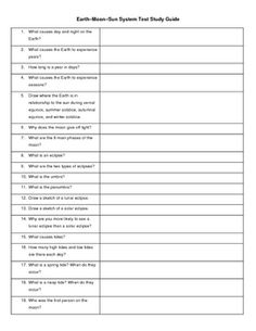 This Earth Science study guide focuses on the Earth, Moon, and Sun's relationship.  Topics include:  Seasons, phases of the Moon, day, night, years...