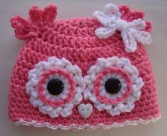Sweet little owl hat - I think I could make something similar. (this is a link to an ebay store - not the pattern)