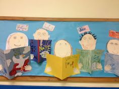 Bookworms Bulletin Board. A spring reading bulletin board I created....looks like the students are holding the book.