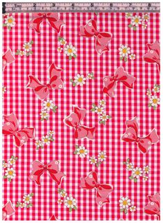 HALF YARD Yuwa - Red Gingham and Bows with White Daisies - Atsuko Matsuyama 30s collection - Daisies, Bows - Japanese Import Fabric by fabricsupply on Etsy