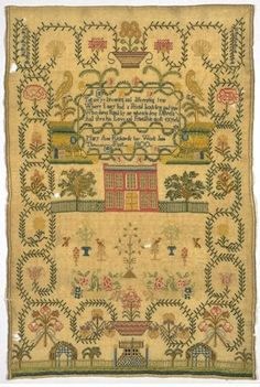 Sampler ~ Mary Ann Richards ~ 1800 ~ There is a second sampler nearly identical to this one by Elizabeth Jane Richards ~ V & A Museum