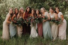 The bridesmaids from this Colorado wedding perfectly capture woodland style | Image by Jordan Voth Photography