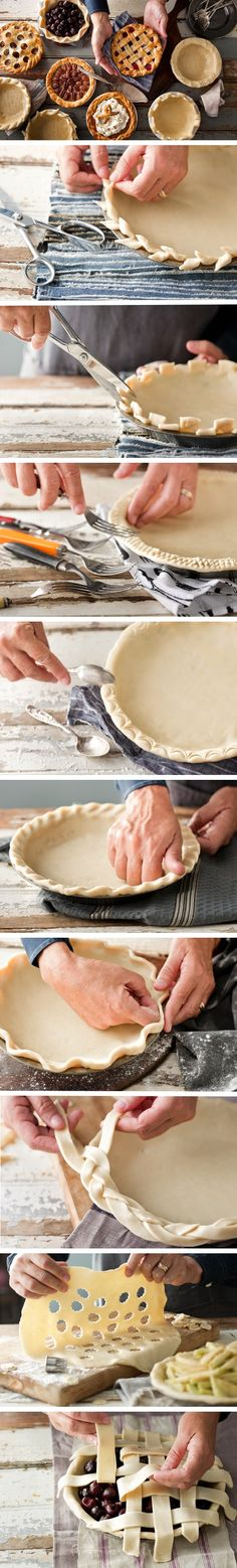 DIY. Creative Pie Crust Designs for the Holidays. 9 Pie crust how-tos and a 120 second video for 20 variations