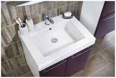 Wood effect floor and wall bathroom tiles make the perfect backdrop to this exciting colour combination Plum Bathroom, Bathroom Basin, Bathroom Inspo, Basin Vanity Unit, Vanity Units, Fitted Bathroom Furniture, Modular Furniture, Bathrooms, Tiles