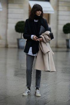 Shop this look on Lookastic:  http://lookastic.com/women/looks/low-top-sneakers-dress-pants-coat-dress-shirt-blazer-scarf-crew-neck-sweater/6725  — Grey Low Top Sneakers  — Charcoal Dress Pants  — Beige Coat  — White Dress Shirt  — Black Blazer  — Black Scarf  — Black Crew-neck Sweater