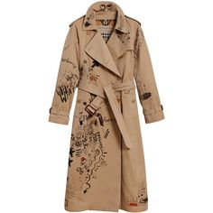 Burberry sketch print trench coat (10.225 RON) ❤ liked on Polyvore featuring outerwear, coats, coats & jackets, brown, burberry trenchcoat, burberry coat, print coat, print trench coat and beige coat