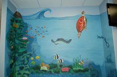 Ocean mural I did at Dr. Timothy Schenings office in South Elgin IL… Sea Murals, Ocean Mural, Wall Murals, Wall Art, Mural Painting, Mural Art, Baby Boy Rooms, Little Girl Rooms, South Elgin