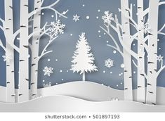 snowflakes and christmas tree.paper art and digital craft style. snowflakes and christmas tree.paper art and digital craft style. Christmas Tree Art, Christmas Window Display, Christmas Crafts For Kids To Make, Christmas Paper, Christmas Decorations, Christmas Snowflakes, Diy Paper, Paper Art, Countryside Landscape