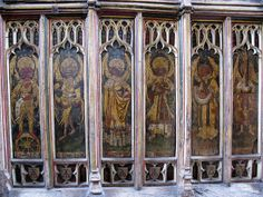 The north chancel chapel screen, the Church of St Edmund, Southwold, Suffolk, England The north chancel chapel screen features angels. Six are shown here. For details, see Simon Knott's outstanding Web site, Suffolk Churches:www.suffolkchurches.co.uk/Southwold.htm. Note that all the images in the screens have been defaced, a practice performed systematically throughout England after the Reformation.