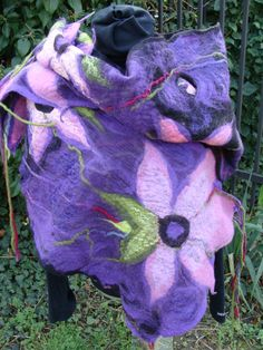 PURPLE PASSION. Nuno Felted Scarf in Black and Purple.Unique Scarf for Her. Wearable Art Felted Wool and Silk Collar. Handmade Neckpiece. by PalMiFeltedScarves on Etsy